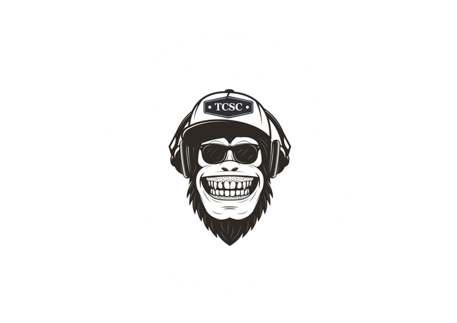The cool stuff company logo. Cool monkey with sunglasses and a cap and headphones. The cap has a trademark TCSC logo on it. six stars inside a circle. monkey smiling.