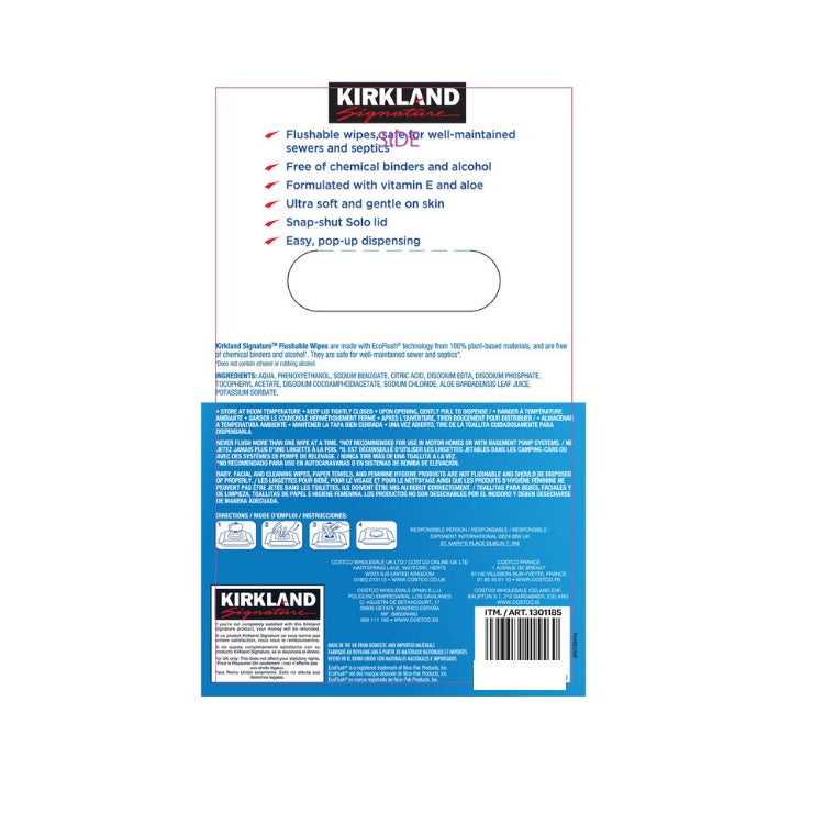 Kirkland Signature Moist Flushable Wipes, 632 Count