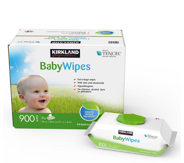 Kirkland Signature Tencel Baby Wipe Unscented Ultra Soft Extra Large 9X100 Wipes - Papaval