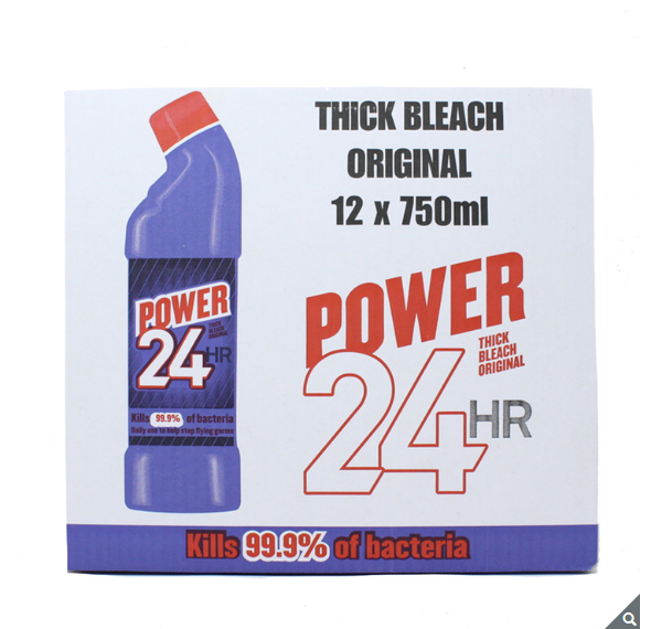 Power 24 Hour Thick Bleach Original Kill 99.9% Bacteria - Pack of 12 x 750ml - Papaval