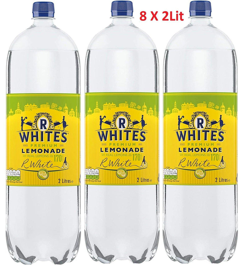 R Premium Whites Lemonade Made With Real Lemon Soft Drink 8 x 2L - Papaval