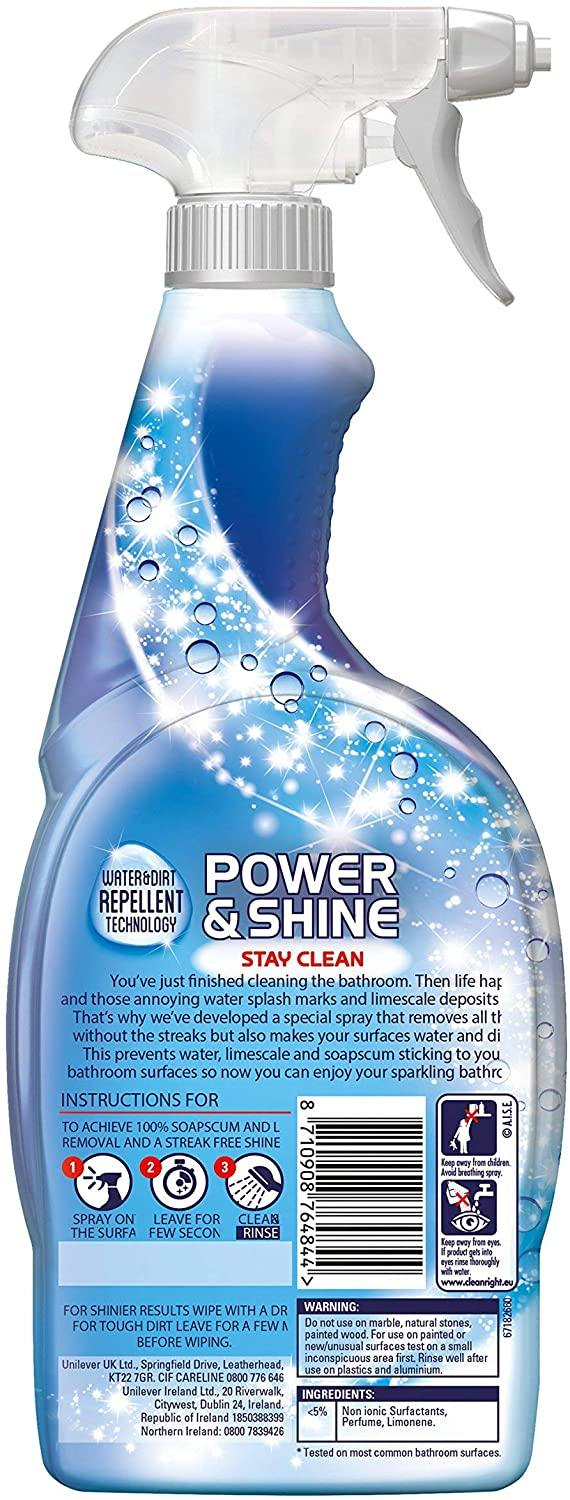 CIF Power and Shine Bathroom Spray Streak Free Shine Multiple pack each 700ml - Papaval