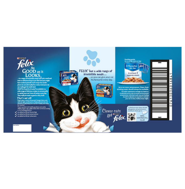 Felix As Good As It Looks Adult Wet Cat Food Ocean Feasts in Jelly 40 X 100G - Papaval