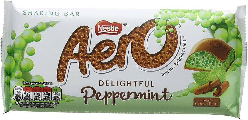 FULL BOX OF NEW NESTLE AERO PEPPERMINT MINT CHOCOLATE BAR 24 x 36 g - Papaval
