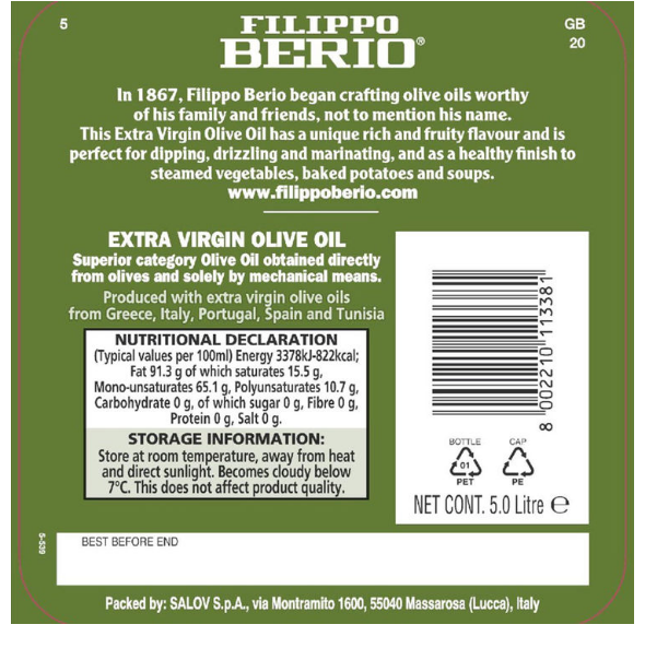 Filippo Berio Extra Virgin Olive Oil Rich healthy  Flavour, 5L - Papaval