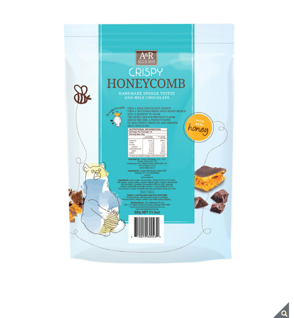 Alli & Rose Crispy Honeycomb Sponge Toffee Milk Chocolate Honey - 320 g - Papaval
