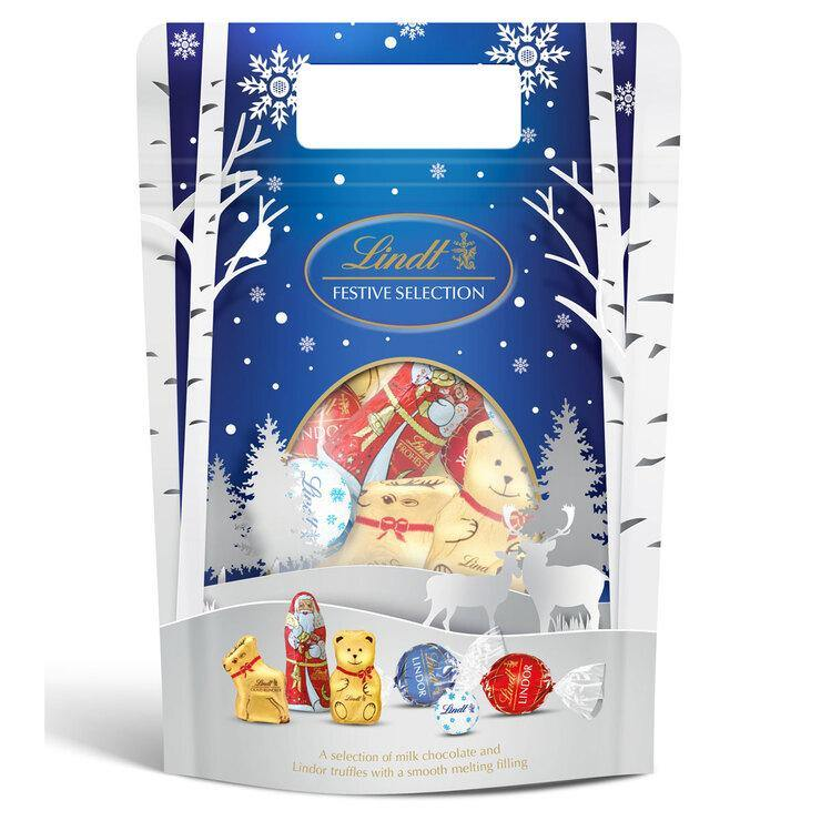 Lindt Festive Milk Chocolate Selection Bag 400g - Brand New - Papaval
