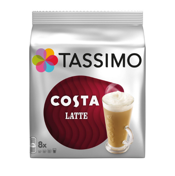 Tassimo Costa Latte Authentic smooth taste Coffee Pack of 5x8 Pods(40 servings) - Papaval