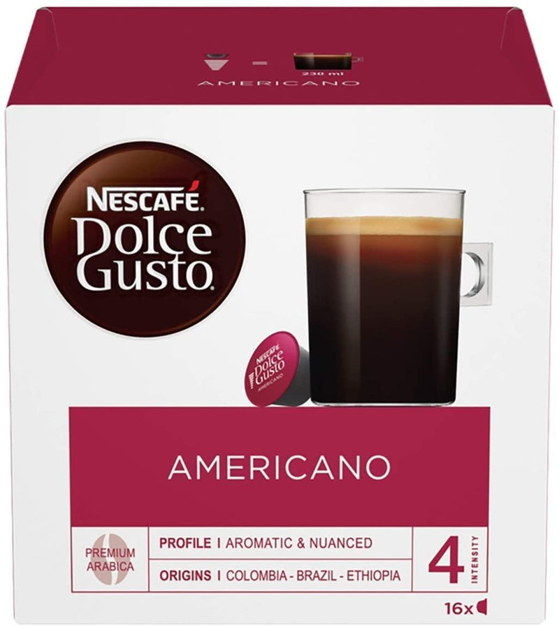 NESCAFÉ Dolce Gusto Americano Coffee Pods, 16 Capsules (48 Servings, Pack of 3, Total 48 Capsules) - Papaval