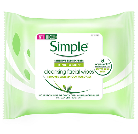 Wipes Simple Skin Sensitive Cleansing Facial Tissue Face Wash 6 x 25