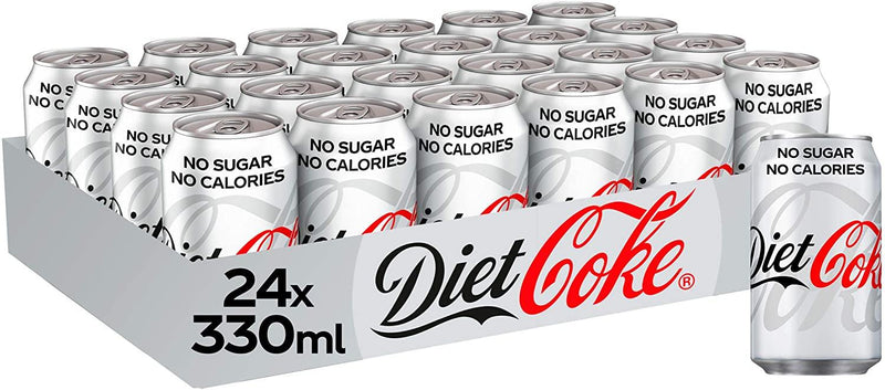 Diet Coke Cans No Calories No Sugar Full Tray 24 x 330ml - Papaval
