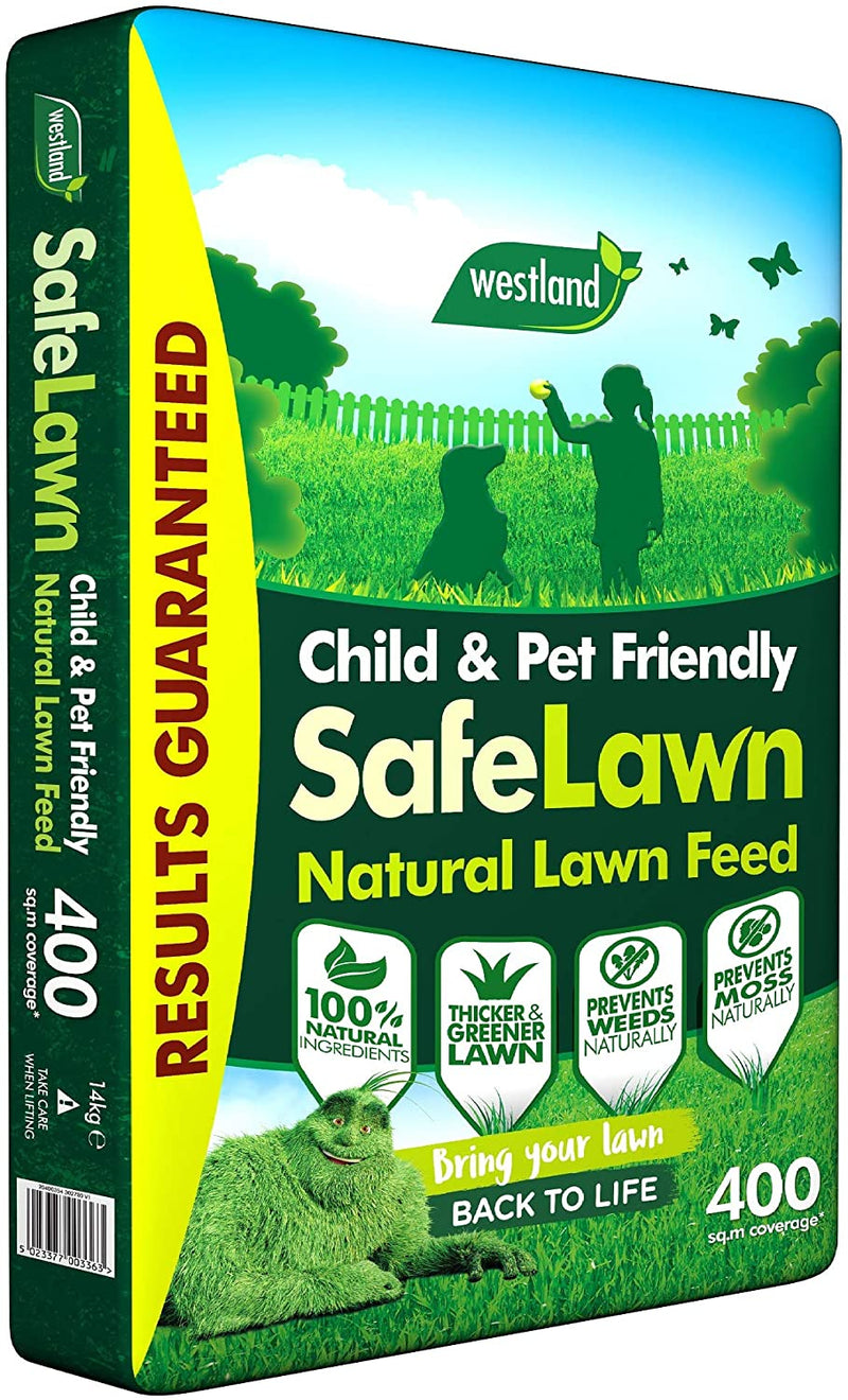 Westland SafeLawn Child and Pet Friendly Natural Lawn Feed 400m2, Green, 14kg