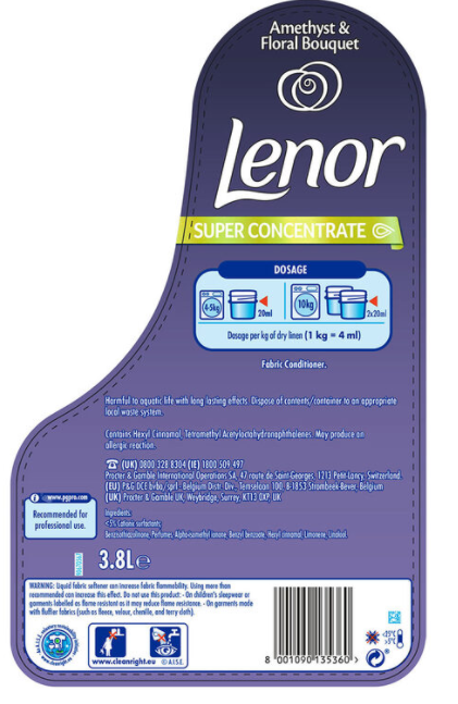 Lenor Amethyst & Floral Bouquet Super Concentrate Fabric Conditioner, 3.8L (190 Wash)