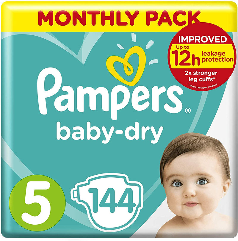 Pampers Size 5 Baby Dry Nappies 144 count monthly pack - (11kg - 16kg)