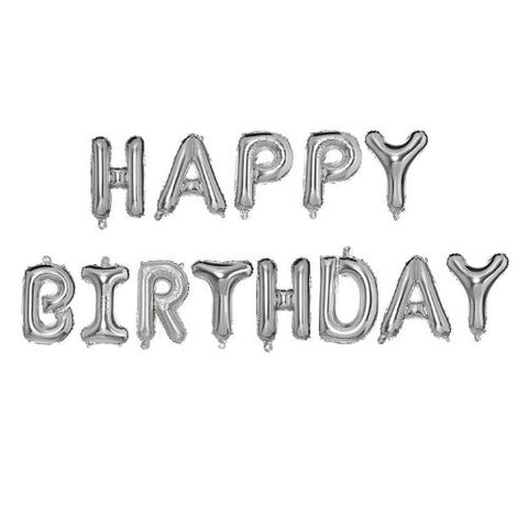 Happy Birthday Balloons Banner Aluminium Foil Letters Birthday Sign Banner Balloon Reusable Ecofriendly Material for Birthday Decorations and Party Supplies (Silver)