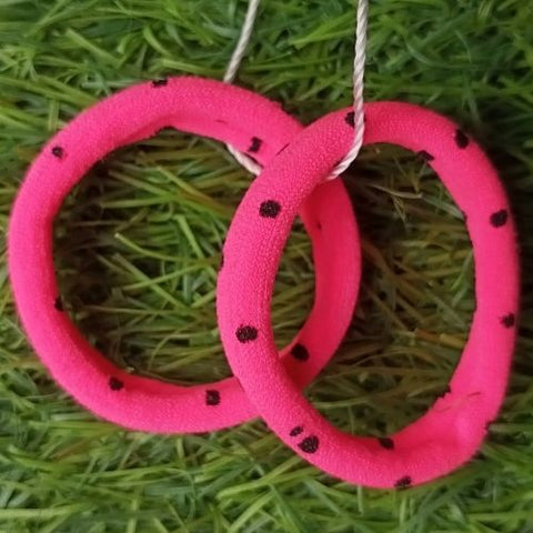Hair Band 2pcs  Pink with Black dot
