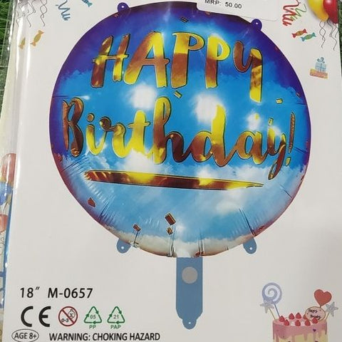 Happy Birthday Printed foil Balloon -Multicolour