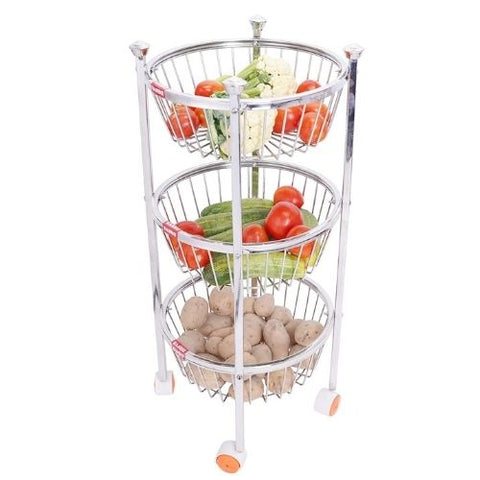 Stainless Steel Round Kitchen Fruit and Vegetable Stand Storage Trolley