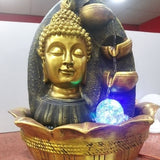 Budha Home decoration with water Fall, Multicolor LED Light