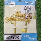 Happy Anniversary with Heart Acrylic Cake Toppers Decorating Party (Gold Colour 1 Pieces)