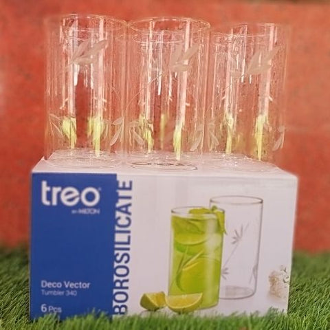 Treo Borosilicate deco vecton 340ml tumbler set of 6 pcs