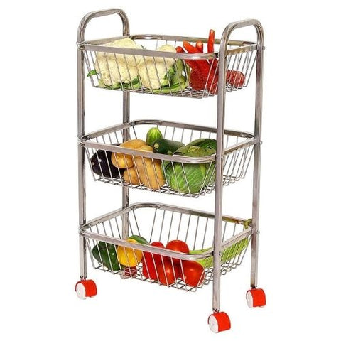 Stainless Steel Square Shape Kitchen Fruit and Vegetable Stand Storage Trolley