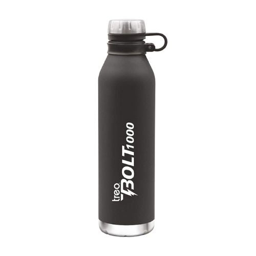 TREO Milton Bolt Stainless Steel Bottle, 1000ml, Black