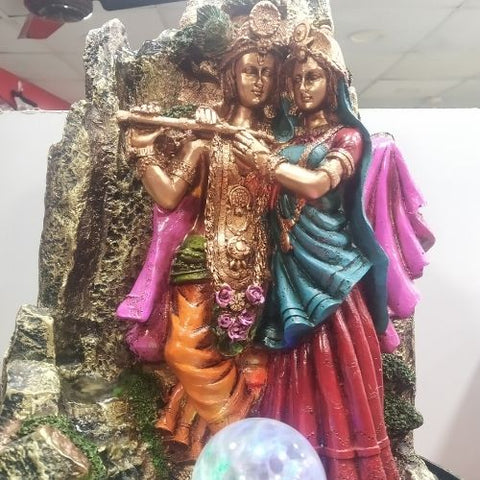 Water Fountain with Lord Radha Krishna, Multicolor Led Lights, Motor Pump with Water Flow Control Switch and Crystal Ball