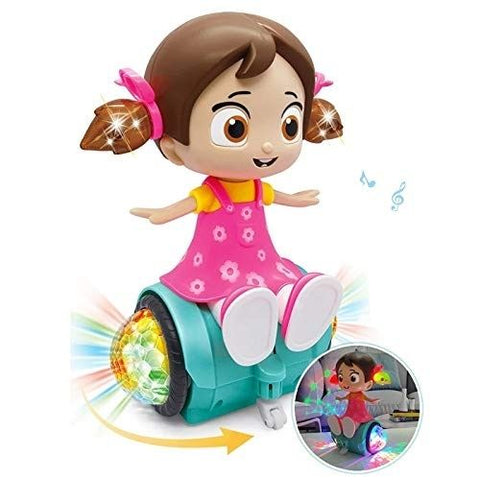 Pink Kites 360 Degree Rotating Dancing Girl Musical Toy with 3D Flashing Lights and Bump and Go Action Feature Doll for Kids (Multicolor)