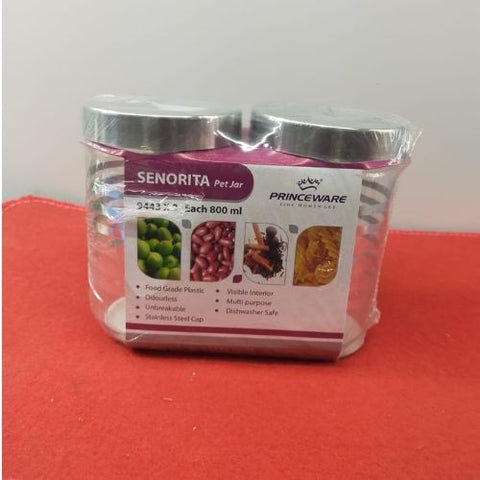 Princeware senorita Pet Jar 800ml each set of 2pcs