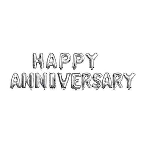 Happy Anniversary Foil Letter Balloons Silver Color 16'' inches - Banner - Best for Home Party, Wall and Room Decoration