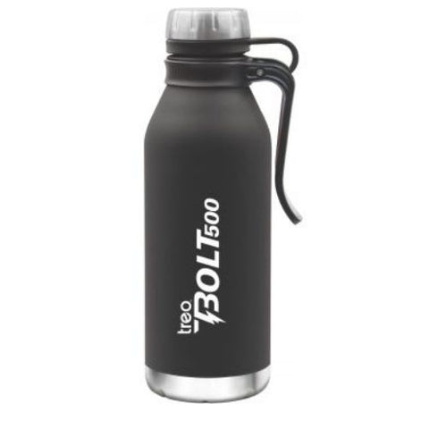 TREO by Milton Bolt with Hook Thermosteel Hot & Cold Bottle 500 ml, Black