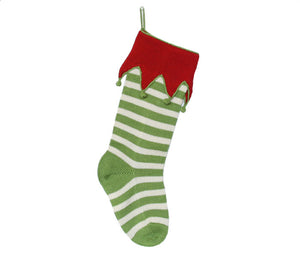 Elf Cuff Striped Stocking, Green
