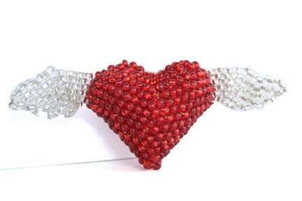 Heart with Wings Brooch- Red