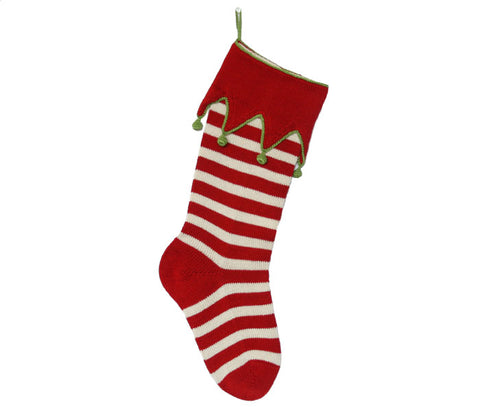 Elf- Cuff Striped Stocking, Red