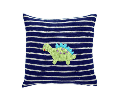 "Dinosaur 10"" Pillow, Navy"