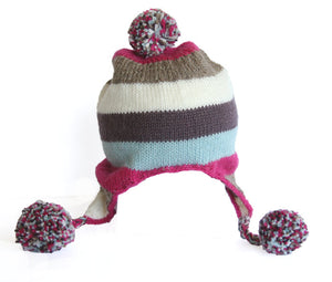 Hat with Ear Flaps & Pom Poms