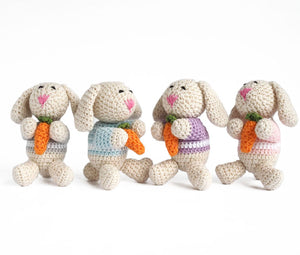 Crochet Bunny Ornament - set of 4