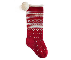 Nordic Roll Cuff Stocking - Red