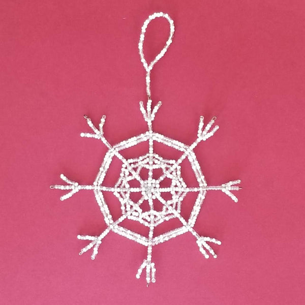 Beaded Snowflake Ornament, 8 point
