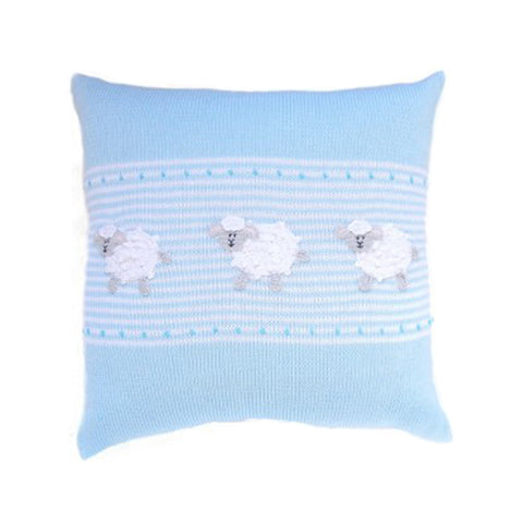 "Lamb 14"" Pillow, Blue/White"