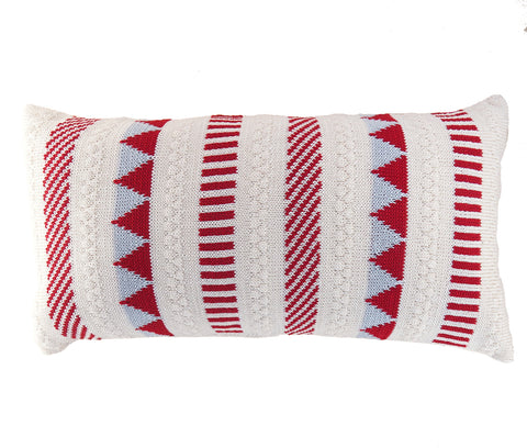 Multi-Pattern Striped Lumbar Pillow, Red/Ecru/Grey