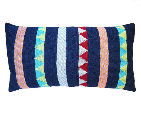 Multi-Pattern Stripe Lumbar Pillow, Navy