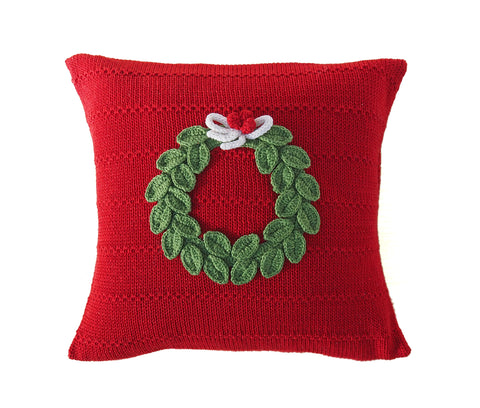 "Green Wreath 10"" Pillow, Red"