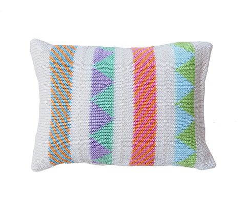 Ecru Mini Pillow, Bright Stripes