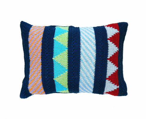 Multi-Pattern Mini Pillow in Navy