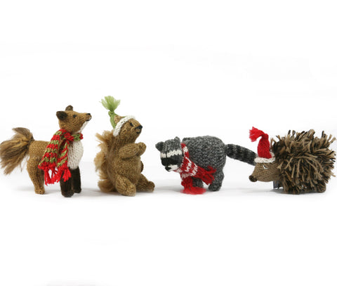 Woodland Creature Ornament- set of 4