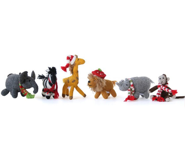 Safari Animal Ornaments- set of 6