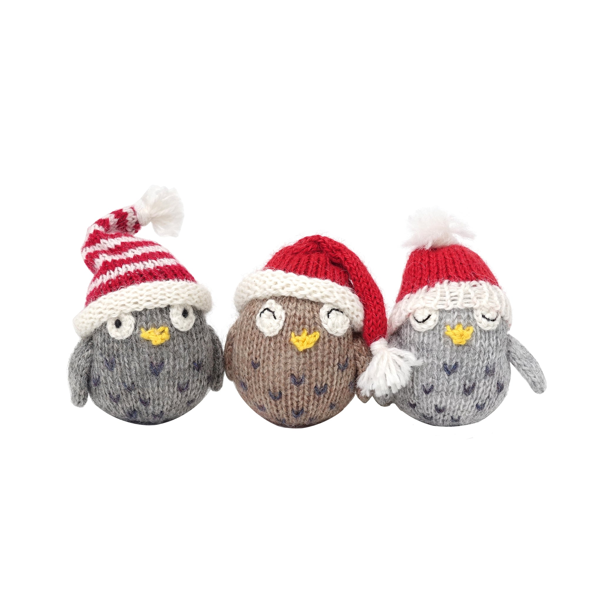 Owls with Hats Ornament- set of 3