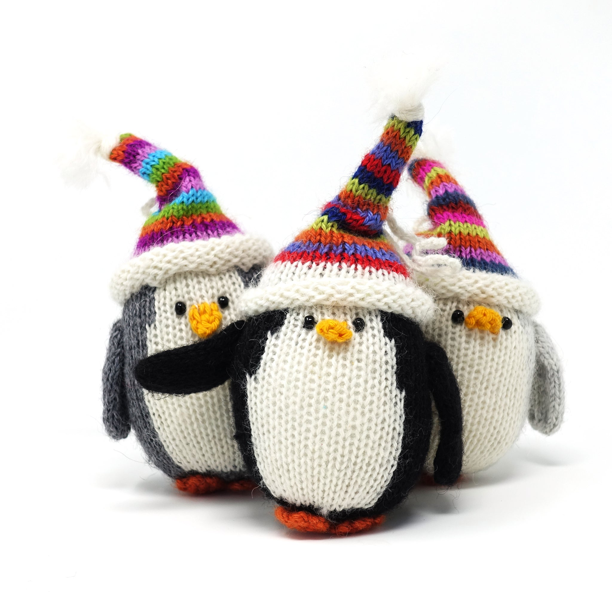 Penguin with Multi-Colored Hat Ornament- set of 3
